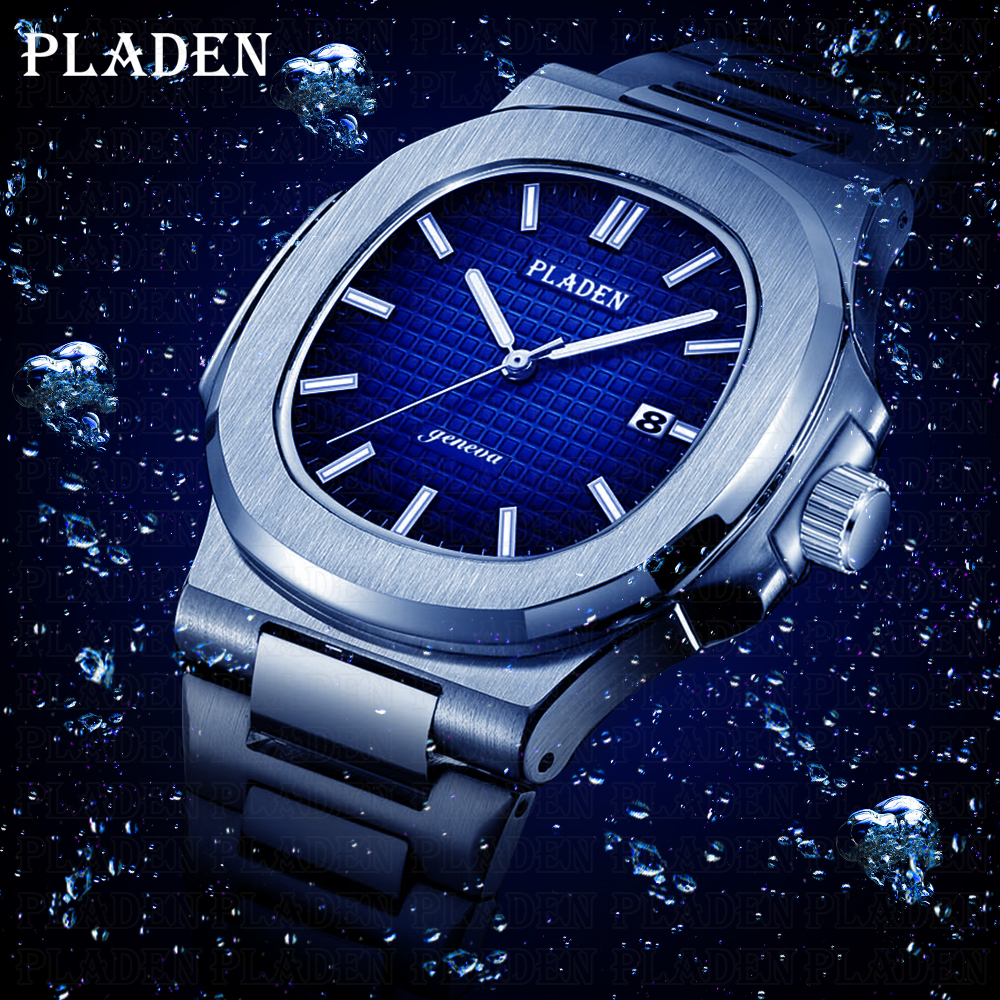 PLADEN Diving Classic Men's Wrist Watch Stainless Steel Date Fashion Waterproof Analog Luminous Elegant Male Quartz Wristwatches