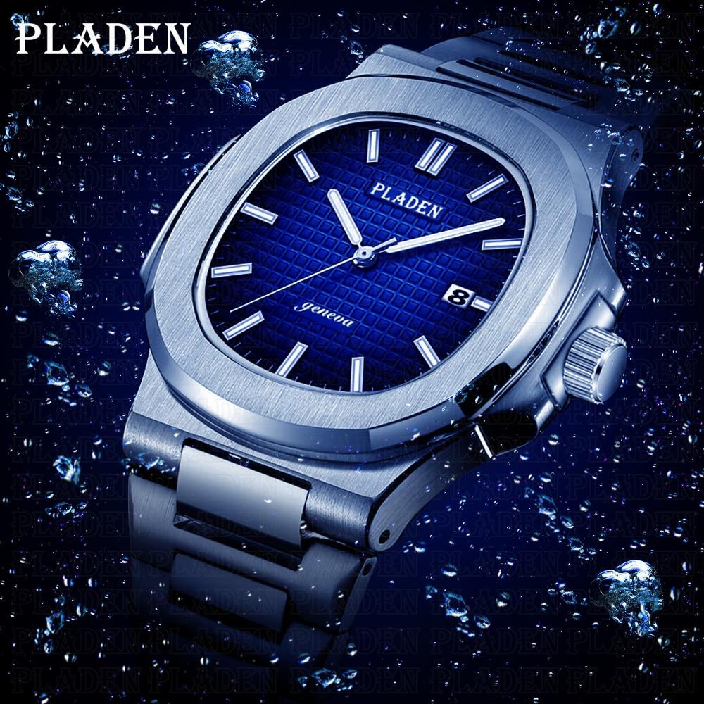 PLADEN Diving Classic Men's Wrist Watch Stainless Steel Date Fashion Waterproof Analog Luminous Elegant Male Quartz Wristwatches|Quartz Watches| |  - title=