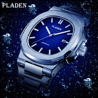 PLADEN Diving Classic Men's Wrist Watch Stainless Steel Date Fashion Waterproof Analog Luminous Elegant Male Quartz Wristwatches