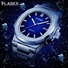 PLADEN mergulho clássico masculino relógio de pulso aço inoxidável data moda à prova dwaterproof água analógico luminoso elegante masculino quartzo relógios de pulso