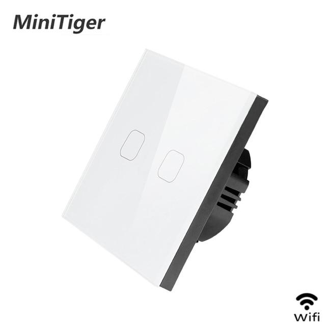 Smart EU Standard Tuya/Smart Life/ewelink 2 Gang 1 Way WiFi Wall Light Touch Switch for Google Home Amazon Alexa Voice Control