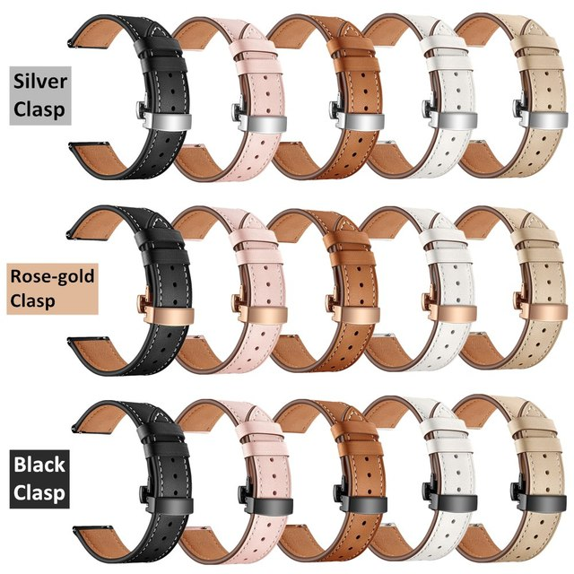 20MM Replaceable Band for Garmin Vivoactive 3/Vivomove HR Bracelet Leather Strap for Samsung Galaxy Watch 3 41mm/42mm/Active 2 1