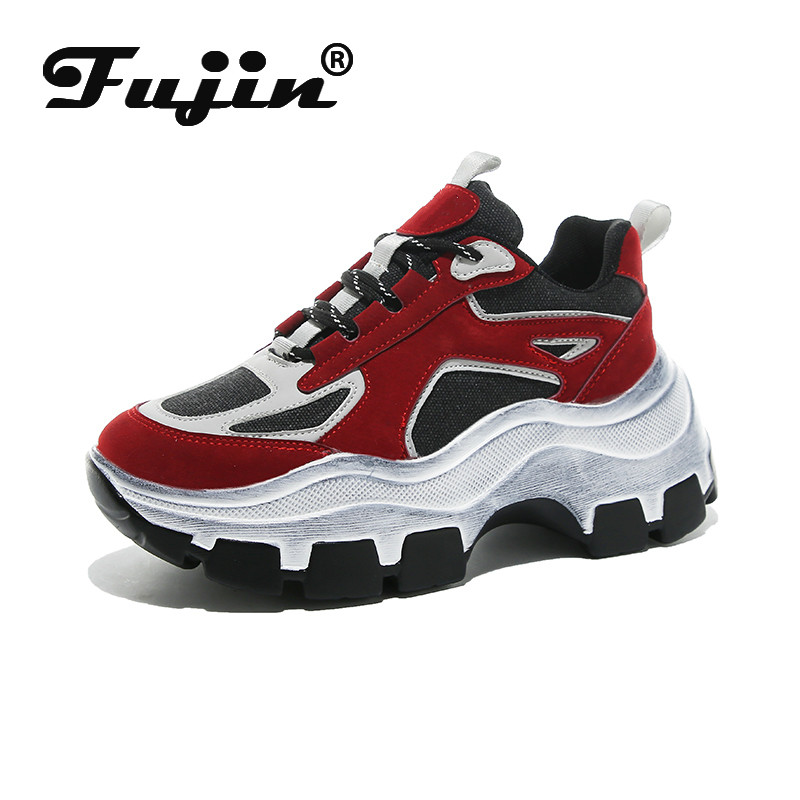Fujin Winter Sneakers Women Dropshipping Thick Bottom Daddy Shoe Thick Bottom Round Toe Breathing Leisure Female Vulcanize Shoes