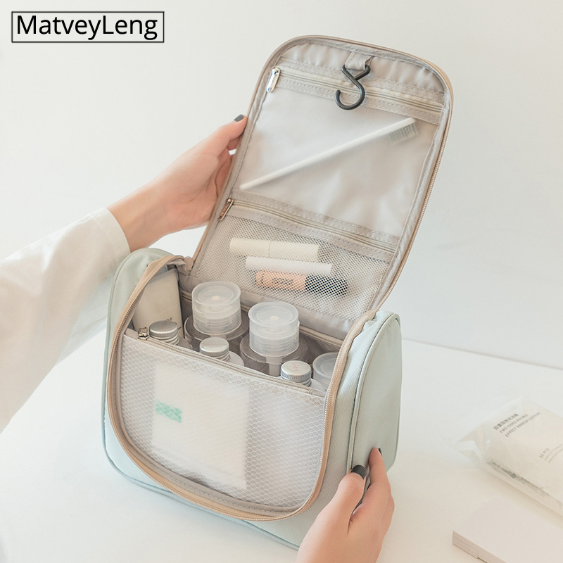 New Candy-colored Cosmetic Bag Hook Hit Color Wash Bag Wet And Dry Separation Travel Storage Curved Bag