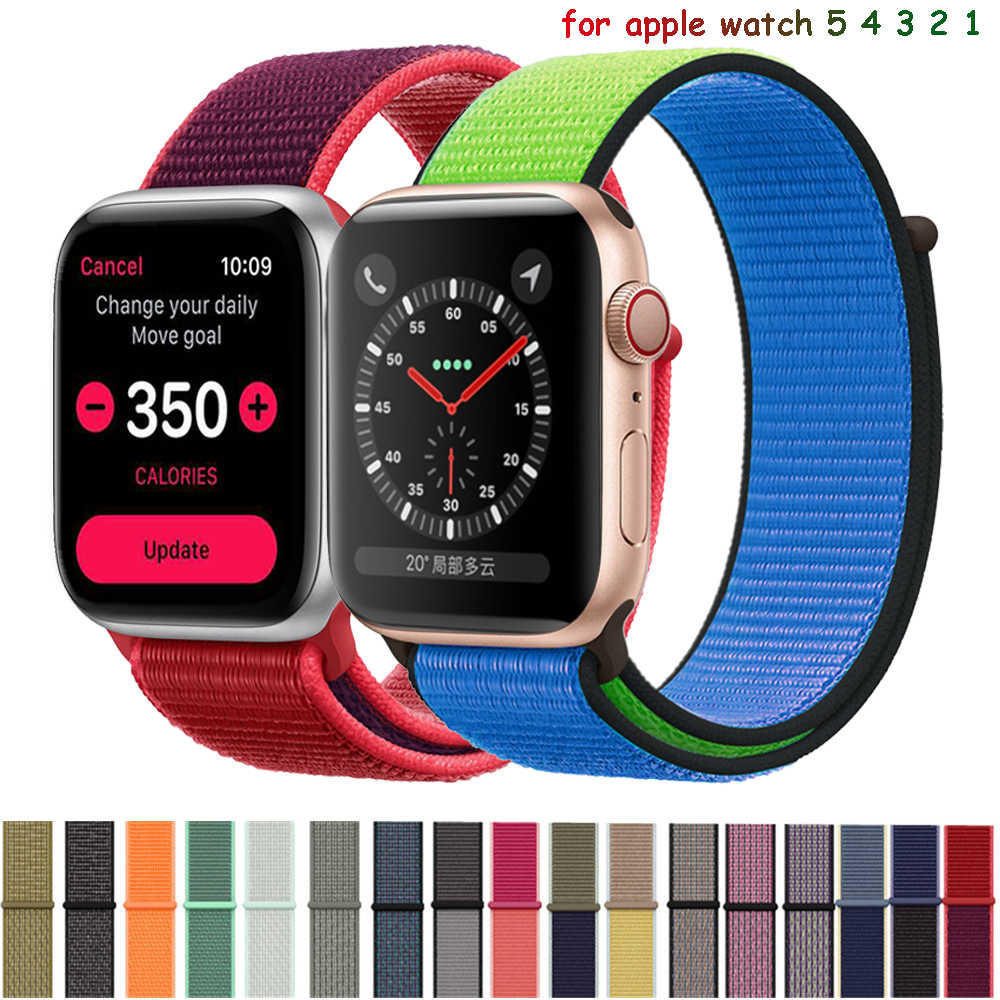 Tali Nilon untuk Apple Watch 5 4 Band 44 Mm/40 Mm Pulseira Apple Watch 42mm/38 Mm IWatch Seri 5/ 4/3/2 Warna-warni Konektor Gelang Jam