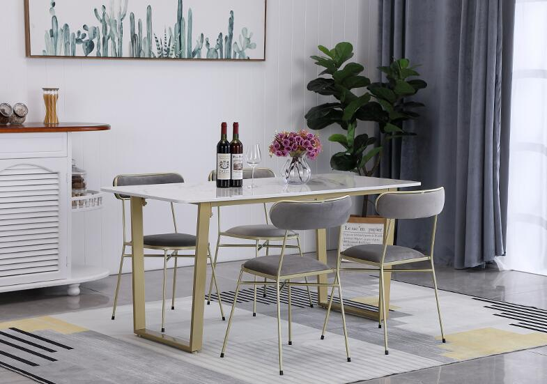 Modern Minimalist Metal Feet Nordic Marble Dining Table White Household Small Apartment Chair Combination Rectangular Dining Tab
