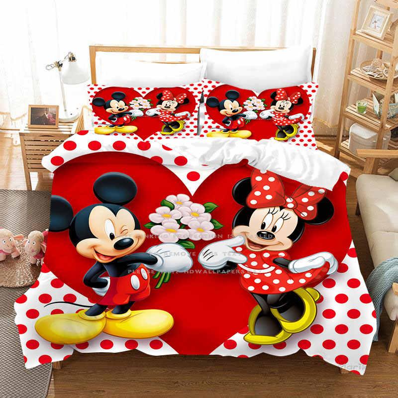 Disney Mickey Mouse Bedding Set Duvet Cover Pillowcase Minnie Mickey Cartoon Children Bed Set Home Textile Disney Aliexpress
