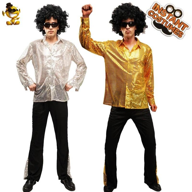 Pétards Multicolore 60 S Psychedelic CND shirt Homme Hippie Chemise Carnaval Devise Party