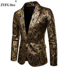 Men Bright gold print suit jacket dress slim fit Gold silk printing coat autumn style Tops jacke plus size for men