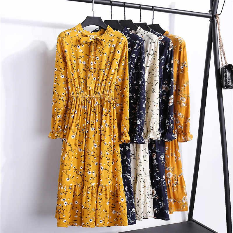 Весна-Осень 2019, женские шифоновые платья со стоячим воротником и бантом, цветочный принт, оборки, Vestido, элегантное милое платье с длинным рукавом, S-XL