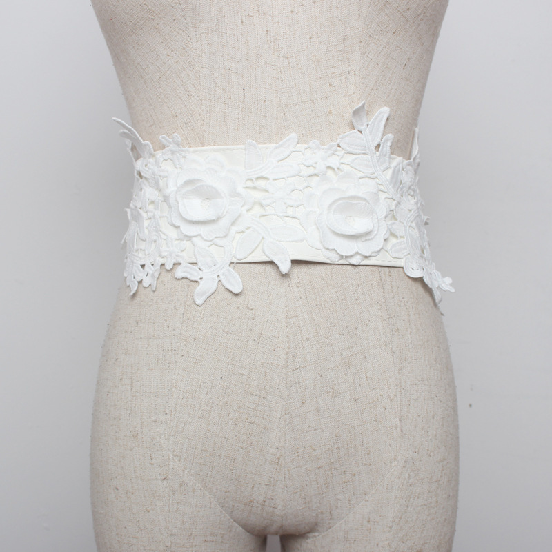 2020 New Design Spring Trendy Wide Belt For Women Solid Lace Flower Vintage Corset Belt Casual All-match Fashion Waistband ZK091