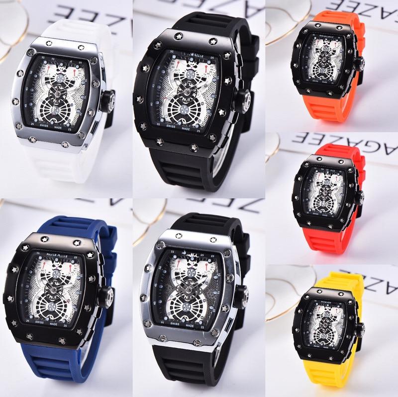 2020  Silicone Man  Chronograph Mens Watches Luxury Top Brand Quartz Watch Blue Military Sports Wristwatch Relogios Clock