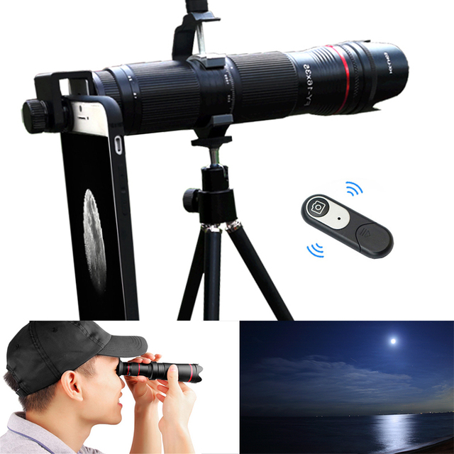 4 18k hd 3 セクション調節可能な16X 35Xズーム望遠光学電話のカメラレンズスマートフォンレンテ単眼望遠鏡レンズ
