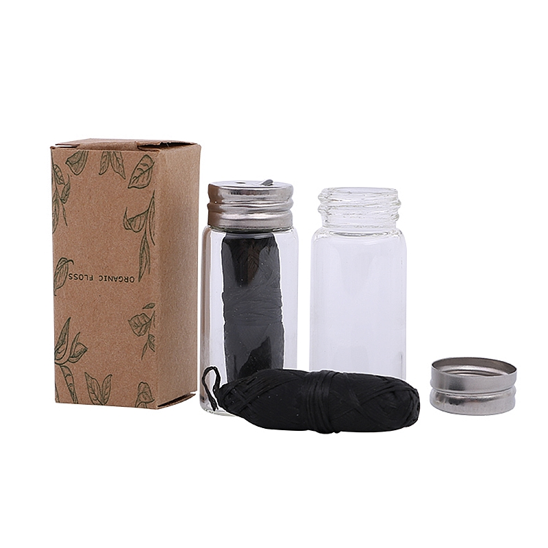 Vegan Dental Floss With Refillable Glass Holder Naturall zero waste bamboo charcoal Eco oral care dental flosser(China)
