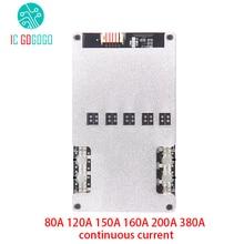 Lifepo4 Placa de protección de batería Li ion 4S, batería de litio de 3,2 V, BMS, 12V, 16,8 V, 80A, 120A, 150A, 160A, 200A, 380A, 18650 Lipo continuo