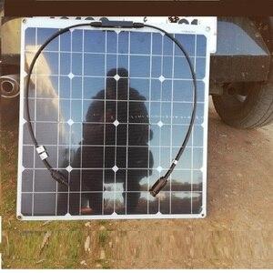 Image 5 - 50W 12V 100W Zwarte Glasvezel Semi Flexibele Monokristallijn Zonnepaneel Voor 12V Lading Batterij Op boten, caravans, Campers,