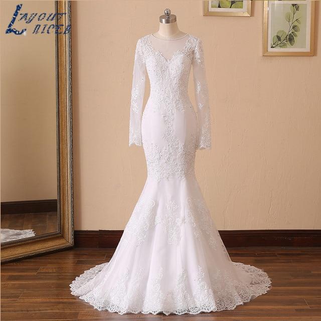 LAYOUT NICEB Mermaid Wedding Dress 2021 Illusion Back Vestido De Noiva Long Sleeve Beads O Neck Lace Appliques Bride Bridal Gown 3
