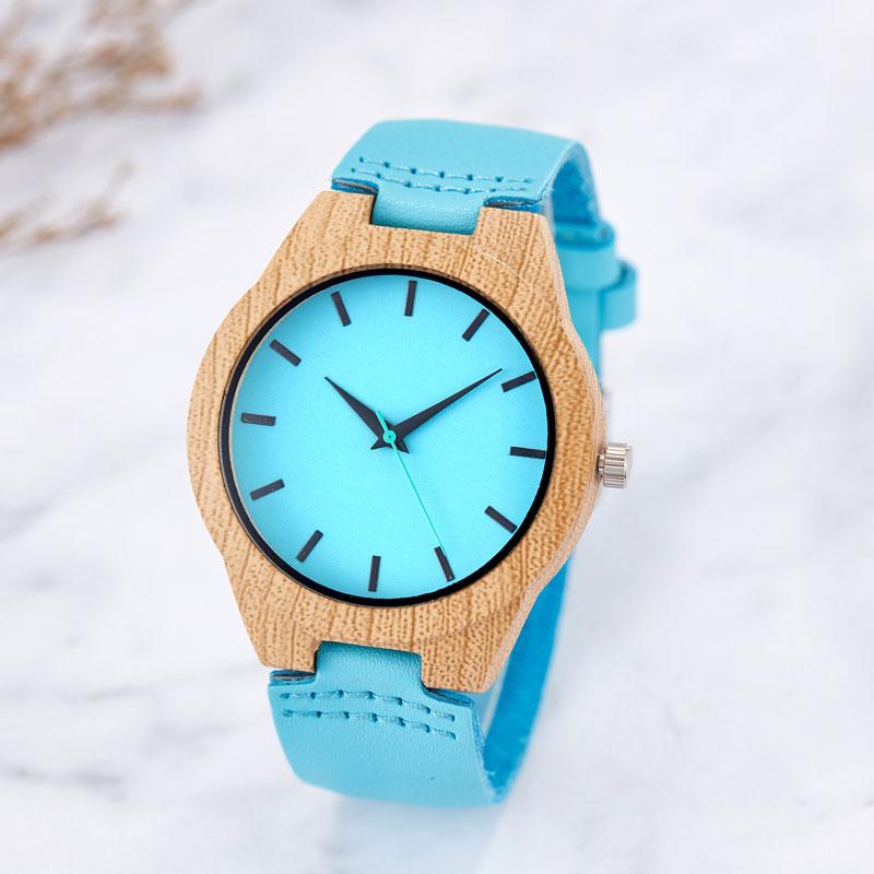 Reloj de imitación de madera azul creativo relojes de madera para hom