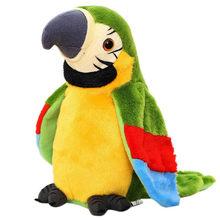 Elétrica falando papagaio pelúcia bonito falando registro simulação elétrica papagaio recheado brinquedo de pelúcia crianças presente aniversário