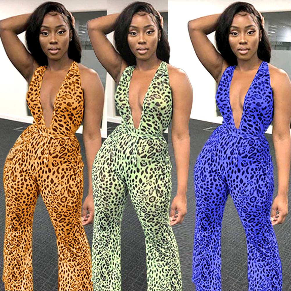 Sexy Jumpsuit Women Casual Rompers Print Leopard Winter Jumpsuit Female Rompers Jumpsuits