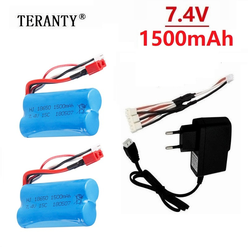 For wltoys 12428 12423 12401 12402 12403 12404 1/12 RC truck <font><b>battery</b></font> and <font><b>Charger</b></font> <font><b>7.4v</b></font> <font><b>1500mah</b></font> Li-ion <font><b>battery</b></font> 15c 18650 T plug image