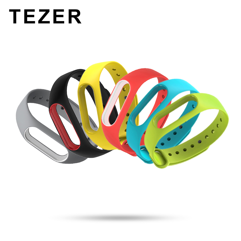 TEZER Colorful Silicone Wrist Strap Bracelet Double Color Replacement Watchband for Original Miband 2 for Xiaomi 2 Wristbands