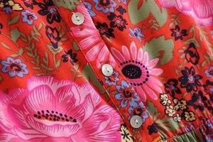Image 4 - Vintage chique feminino laço up floral impressão praia boêmio maxi vestido senhoras rayon verão boho vestidos