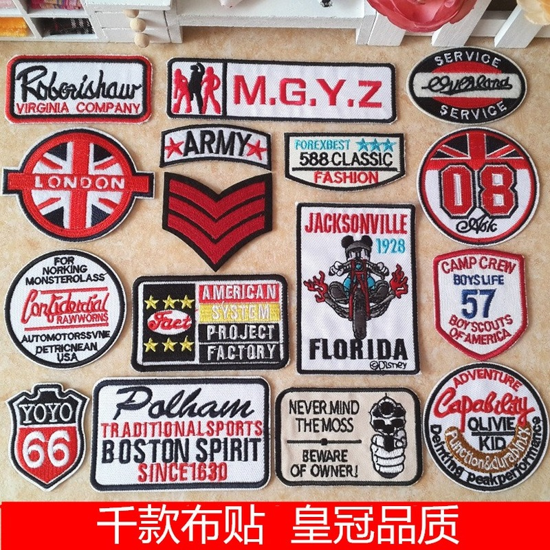 20 Pcs/lot Round Embroidery Patches Letters English Style Vintage Clothing Accessories Heat Transfer Badge Iron Clothes