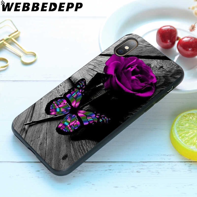 WEBBEDEPP 蝶バラの花ソフト TPU ケースカバー apple の iphone 6 6S 7 8 プラス 5 5S 、 SE X XS 11 プロマックス XR