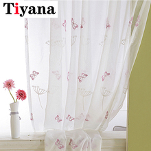 Embroidered Butterfly Tulle Curtains for Kitchen Bedroom Sheer Dandelion Window Drapes Panels for Girls Room Living Room P266Z