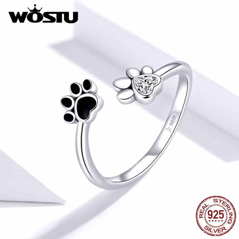 WOSTU Real 925 เงินแหวนเปิดขนาดแหวนหมั้นแหวนแฟชั่นเครื่องประดับของขวัญ