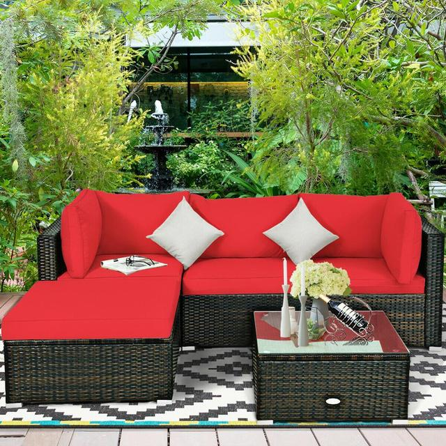 5PCS Patio Furniture Set w Red Cushions  6