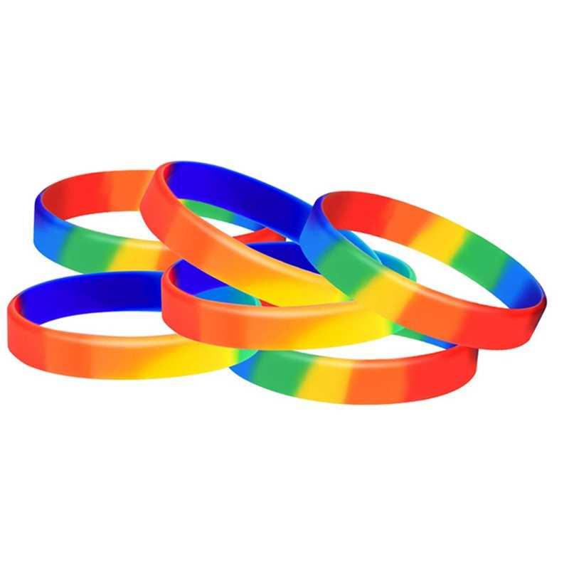 Mode Siliconen Regenboog Streep Armband Mutilayered Rubber Mode Polsbandje Sieraden