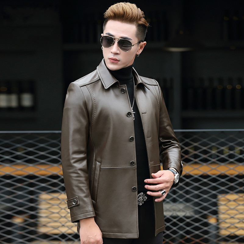 Jacket Men Autumn Winter Real Sheepskin Coat Vintage Men's Windbreaker Chaqueta Cuero Hombre T-01-1709 KJ1616