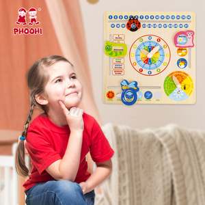 Image 2 - Wooden Calendar Toy Multifunction 6 in 1 Hanging Kids Clock Date Weather Chart Early Educational Learning Toy