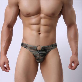Kamuflaż drukuj męskie mmiękkie majtki kalesony figi szorty bielizna Slipy Meskie męskie bielizna majtki Calzoncillos Hombre tanie i dobre opinie Poliester Paski Underwear Men
