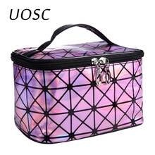UOSC Multifunktionale Kosmetik Tasche Frauen Leder Reise Make Up Necessaries Organizer Zipper Make-Up Fall Beutel Toiletry Kit Taschen(China)