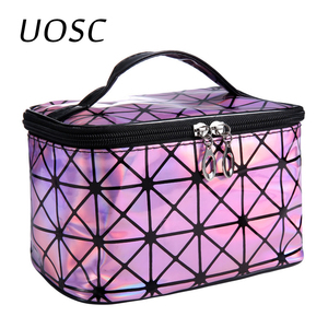 UOSC Multifunctional Cosmetic Bag Women Leather Travel Make Up Necessaries Organizer Zipper Makeup Case Pouch Toiletry Kit Bags