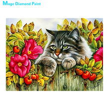 Cat on the fence Moge Diamond Painting Cross Stitch Full Round New DIY 5D home decorative animal fruit floral Mosaic Embroidery