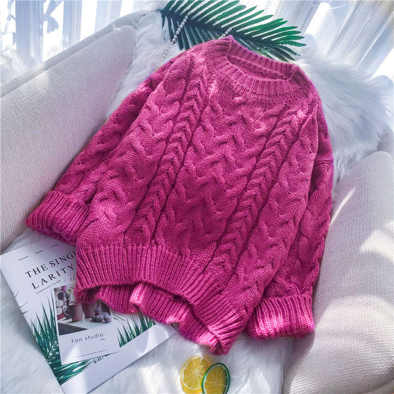 Mooirue Autumn 2019 Female Casual Pink Cable Sweater Loose Sweater Feminino Pink Gray Knitwear