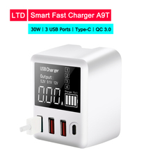 Universal 30W USB Quick Charger 5V 6A QC 3.0 for iPhone Fast charging 3 Ports with Type C Port Oneplus For Xiaomi Phone