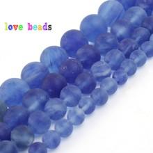 Natural Matte Dull Polished Blue Crystal Quartz Beads 6/8/10/12mm Round Loose Beads for Jewelry Making DIY Bracelet 15 Perles 4 6 8 10 12mm matte blue sandstone round beads natural stone beads for jewelry making diy bracelet 15 perles minerals beads