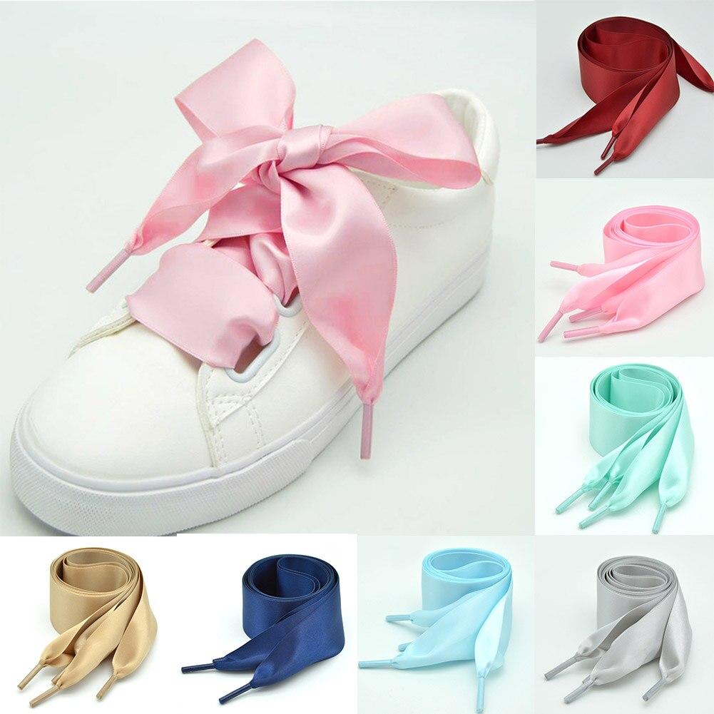1 Pair Satin Silk Ribbon Shoelaces White Sneaker Shoes Lace Canvas Shoe Laces 4cm Width 90cm Length Shoelace