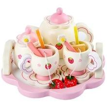 Filles jouets simuler en bois cuisine jouets rose service à thé jouer maison jouet éducatif outils bébé éducation précoce Puzzle vaisselle cadeau