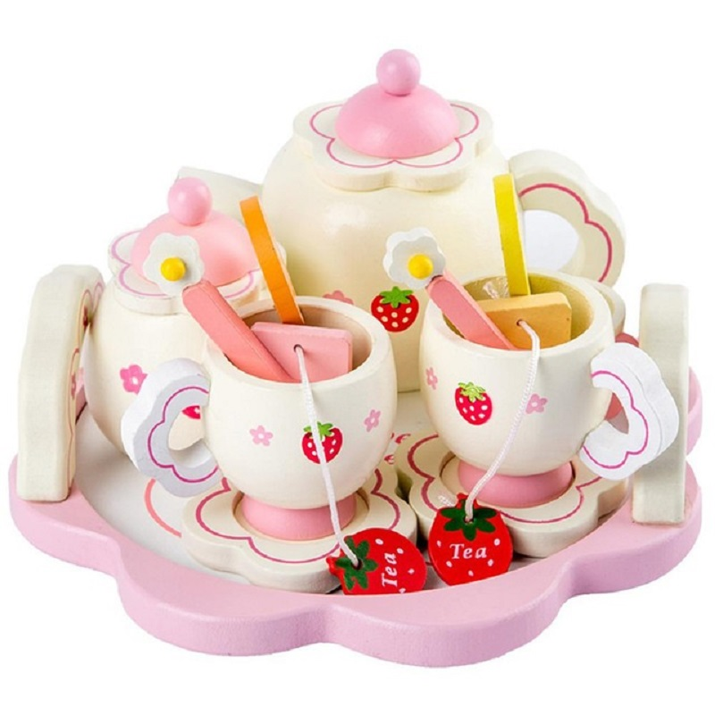 Girls <font><b>Toys</b></font> Simulate Wooden <font><b>Kitchen</b></font> <font><b>Toys</b></font> Pink Tea <font><b>Set</b></font> Play House Educational <font><b>Toy</b></font> Tools Baby Early Education Puzzle Tableware Gift image