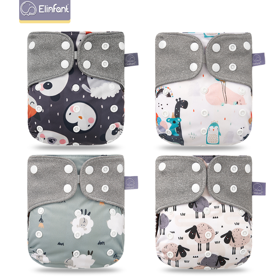 Baby Nappies Diaper-Cover Washable Elinfant Coffee-Cloth Wholesale 4pcs/Set