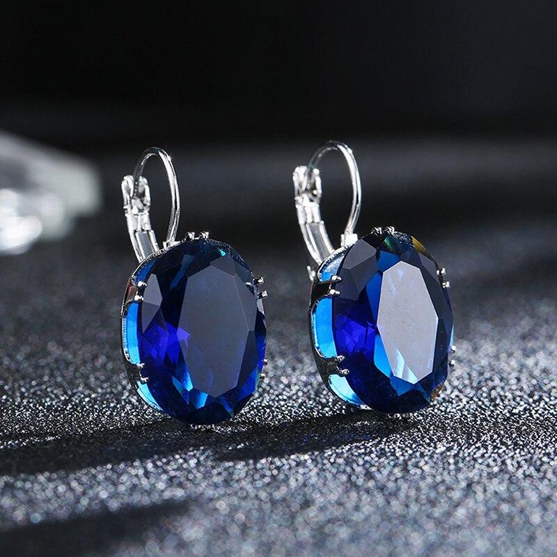 Высокого качества для женщин, не вызывают аллергию, большие серьги с синий круглый Форма Кристалл Камень кубик циркония свадебное ювелирно...