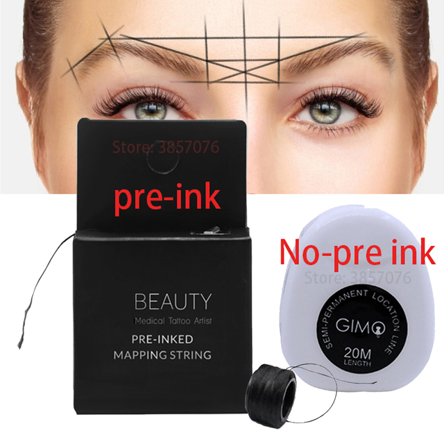 10Meters Pre Inked Mapping String brow mapping tool brow line microblading string for permanent makeup eyebrow microshading tool 3