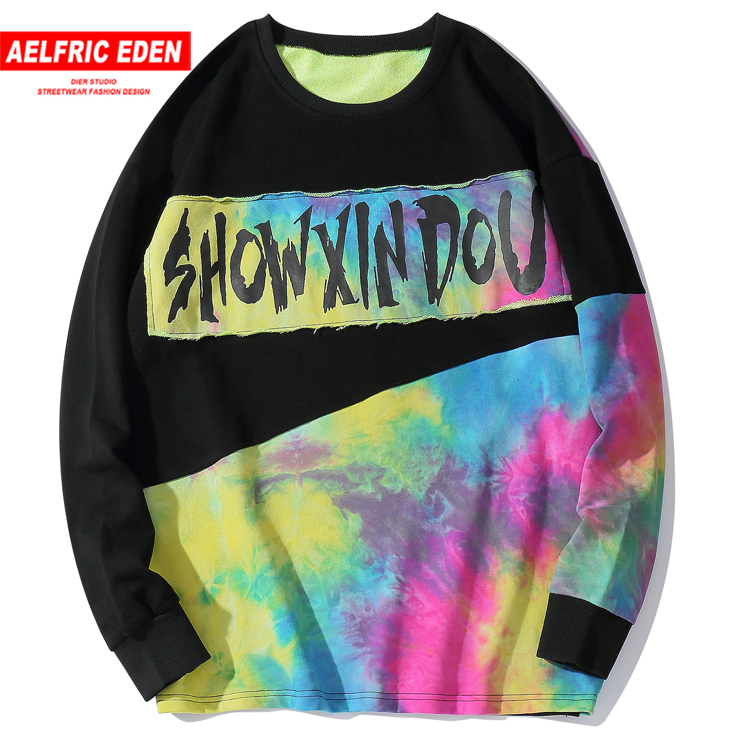 US $28.68 40% OFF|Aelfric Eden Hip Hop Patchwork Color Block Letter Printed Mens Sweatshirts 2019 Harajuku Tops Casual Cotton Pullover Streetwear on