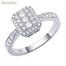 Newshe 100% sólido 925 prata esterlina anel de noivado para as mulheres redondo princesa corte aaa zircão prometido anéis de casamento jóias